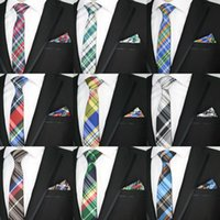 черный галстук желтые полосы оптовых-6CM Men Tie Set Narrow Polyester Silk Stripe Plaids Jacquard Woven Slim Ties Handkerchief Sets Necktie Set Yellow Black Party