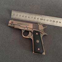 véritable briquet achat en gros de-Nouvelle arrivée authentique PPK607 deux-baril pistolet briquet Full Metal Simulation créativité 64 modèle gonflable à deux feux de la flamme