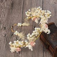 coroa brincos de pérola venda por atacado-Pérolas Nupcial Conjuntos de Jóias Handmade Flor Cocar de Cristal Brincos de Cristal Resina Beads Headpiece Casamento Coroa Acessórios Para o Cabelo
