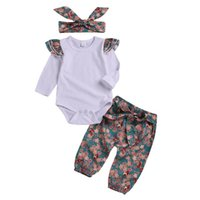 Wholesale adorable baby clothing for sale - Group buy 2019 adorable Newborn Kid Baby Girls Floral Clothes long flying sleeve white Romper Long floral Pants headband autumn Outfit for baby