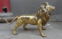Wholesale brass animal sculptures for sale - Group buy NEW quot Chinese Brass Animals Ferocious FengShui Foo Fu Dog Lion Statue Sculpture