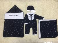 nachahmung baby kleidung großhandel-Babyschlafsack des Satz-5pcs + blanket + romper + cap + bib Karikaturdrucken neugeborene Kleidungssatz Marke geben Verschiffen frei