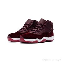 kidding roter samt großhandel-Mens AJ 11 Basketball-Schuhe Retro Jumpman XI Air Flug 11S Raum Jam 45 Velvet Red Night Maroon Damen Kinder Turnschuhe Stiefel mit Originalverpackung