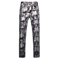 zipper das calças dos homens venda por atacado-Homens vestido calça tamanho Ásia S - 5XL calças homens Slim design prata Calças mens