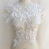 vestido de casamento de luxo de colarinho alto frisado venda por atacado-Material de rayon de alta qualidade luxo frisado colarinho de flores colar de volta colar vestido de noiva de noiva applique acessórios de vestuário