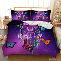 Wholesale king size bedding sets butterflies resale online - High End Dreamcatcher Bedding Set King Size Butterfly Fantasy Duvet Cover Queen Full Twin Single Double Bed Set With Pillowcase