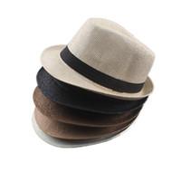 hüte für männer leinen großhandel-Männer Frauen Baumwolle / Leinen Strohhüte Weiche Fedora Panama Hüte Outdoor Stingy Brim Caps 56 - 58cm