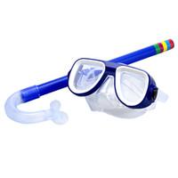 conjunto de snorkel para crianças venda por atacado-Crianças Seguro Snorkel Mergulho Máscara + Snorkel Set Natação Esportes Aquáticos Para Kid 3-8 Anos de Idade Azul