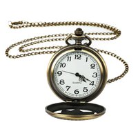 ingrosso batterie di bronzo-Numeri romani orologio al quarzo regalo collana bronzo retrò steampunk orologio da tasca braccialetto braccialetto orologio orologio regalo della batteria