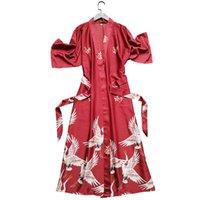işlemeli pijama toptan satış-Simülasyon Ipek Gecelik Kadın Nedime Düğün Vinç Işlemeli Pijama Gelin Kıyafeti Gevşek Büyük Boy Bornoz Ev Hizmeti