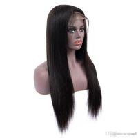 african american glueless peruklar toptan satış-Uzun düz doğal görünümlü saç tutkalsız ön peruk afrika amerikalılar için tam saç peruk kadın 24 inç isıya dayanıklı dantel peruk