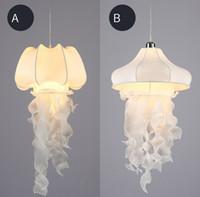 Wholesale fabric lamp cord for sale - Group buy White Silk Fabric Jellyfish Pendant Light Cord Fixture Nordic Rustic Art Decoratice Romantic Creative Hanging Lamp Luminaria LLFA