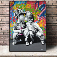 Wholesale cartoon pictures for kids for sale - Group buy Street Graffiti Art Pop PosterS Kids Pictures Sweet Kiss Canvas Painting Wall Art Pictures For Living Room Bedroom No Frame