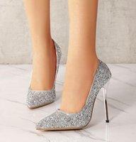 gümüş düğün stilettos toptan satış-Artı boyutu 35 için 40 41 42 Gümüş payetli Yüksek Stiletto Topuklar Sivri Düğün Ayakkabı Kutusu ile gel pompaları
