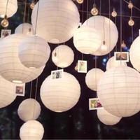 düğün dekorasyon kağıt topları toptan satış-30 adet / grup Mix Boyutu (20 cm, 30 cm, 35 cm, 40 cm) Beyaz Kağıt Fenerler Çin Kağıt Top Lampion Düğün Tatil Dekorasyon Için