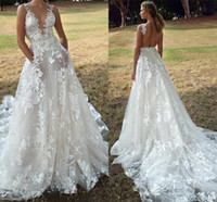 Wholesale strap back gown resale online - Stunning D Lace Flora Appliqued Wedding Dresses For Garden Boho Weddings A Line Plunging Neck Sexy Open Back Sheer Tulle Boho Bridal Gowns