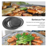 Wholesale flat iron pan resale online - Round Iron BBQ Grill Plate Barbecue Non stick Pan for Outdoor Cooking Best selection as BBQ cooking tools