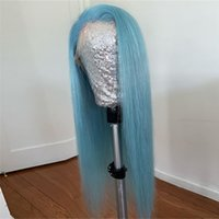 Wholesale full wigs blue for sale - Group buy Blue Straight X6 Lace Front Wig with Baby Hair Remy Brazilian Full Lace Wigs For Black Women Human Hair