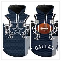 suéteres cosplay al por mayor-Dallas cowboy hoody traje hombres mujeres Dallas cowboy Sudaderas Cosplay Impresión de dibujos animados en Europa y América 3D Chaqueta suéter con capucha