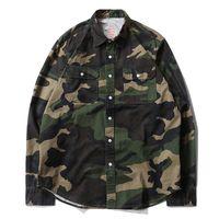 Wholesale camouflage print blouse for sale – plus size designer ssASSC camouflage men shirt luxury military uniform blouse selling new print couple shirts cotton embroidery women trend blouses