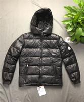 mens ceketler toptan satış-Erkek Tasarımcı Ceket Kapşonlu Sonbahar Kış Rüzgarlık Ceket Aşağı Kalın Lüks Hoodie Dış Giyim Aydınlık Ceketler Asya Boyutu erkek Giyim