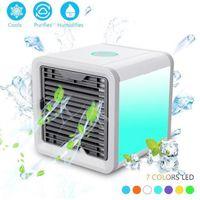 tragbarer luftbefeuchter großhandel-USB-Mini-beweglich Klimaanlage Luftbefeuchter Reiniger Tragbare Kühler 3 Geschwindigkeiten 7 Farben Licht Desktop-Air-Kühlventilator für Office Home