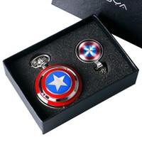 kapitänsstern großhandel-Captain American Star Taschenuhr Halskette Ketten Anhänger Schild Uhr Anhänger Vintage Quarz Taschenuhr Chrismas Geschenke