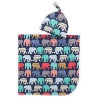 bolsa de dormir para bebés al por mayor-Bebé infantil Swaddle manta niños niñas alpaca mantas + sombrero estampado floral suave de algodón saco de dormir de dibujos animados de animales sacos de dormir GGA2067