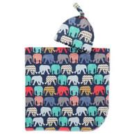 saco de bebê swaddle venda por atacado-Cobertor Swaddle Bebê Infantil Meninos Meninas Cobertores de alpaca + chapéu Floral Impresso Algodão Macio Saco Do Sono Dos Desenhos Animados Animal Sacos de Dormir GGA2067