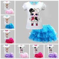 Wholesale baby clothing sets wholesale online - 8 Styles Baby Girls Outfits Surprise Top Tutu Lace Mesh Skirts Summer Fashion Boutique Kids Surprise Clothing Set set CCA11440 set
