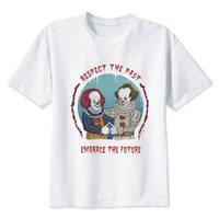 anime kleidung für jungen großhandel-Es Clown Pennywise T-Shirt Männer Sommer T-Shirt Boy Print T-Shirt Männer T-Shirt Anime Hip Hop T-Shirt Marke Kleidung Weiße Farbe Tops Tees