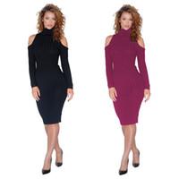 3649bd160d1 Crayon Sexy Robes Moulantes Femmes 2019 Printemps Hiver À Manches Longues  Envelopper Tricoté Pull Robe Femmes Mini Robe Rouge Noire Plus La Taille