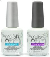 recubrimiento de uñas al por mayor-Esmalte de gel de uñas de calidad superior para el arte de uñas Laca de gel Led / uv Harmony Gelish Base Coat Foundation Top coat