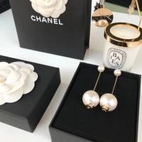 Wholesale stainless steel pearl pendants resale online - women Stud Earrings Charm Accessories with Exquisite Gift Box WSJ012 Long Pearl Pendant Earrings wsj5388