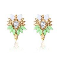 rote silberne kristalle großhandel-Neue Damenmode Kristall Ohrringe Strass ROT / Rosa Glas Schwarz Harz Metall Blatt Ohr Ohrringe Für Mädchen