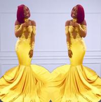 ingrosso abito spandex giallo-2019 moda giallo abiti da promenade sirena spalle maniche lunghe sexy illusione vedere attraverso tromba occasioni speciali abiti da sera partito
