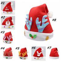 kardan adam yılbaşı şapkaları toptan satış-Çocuklar Şenliği Şapka kardan adam geyik pul Noel Baba Şapka Uzun Peluş Kumaş Çocuk Noel şapka partisi Tatil Noel Beanies 150pcs T2I5556 kap