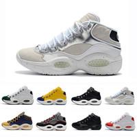 atletik seçkin toptan satış-Yeni Tasarımcı Ayakkabı Allen Iverson Soru Orta Q1 Basketbol Ayakkabı Cevap 1 s Zoom Erkek Atletik lüks Elit Spor Sneakers EU40-46