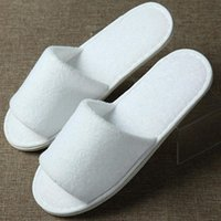 Wholesale disposables hotel slippers resale online - Soft Disposable Slippers Home Guest Open Toe Shoes Terry Cloth Breathable Hotel Comfortable Anti slip Disposable Slippers DH0609