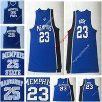 2d3a906cab2 Men s College Basketball 23 Derrick Rose Jersey Blue University Memphis  Tigers Jerseys Uniform 25 Penny Hardaway Vintage basketball shirts