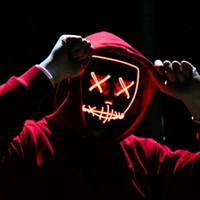 lustige kostüme für halloween großhandel-Halloween Rave Purge Masken Horror Led Maske El Draht Leuchten Maske Für Festival Cosplay Kostüm Dekoration Lustige Wahl Party