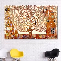 nackte klassische gemälde großhandel-Baum des Lebens Leinwand Malerei Wandkunst Drucke Klassische Abstrakte Ölgemälde Für Wohnzimmer