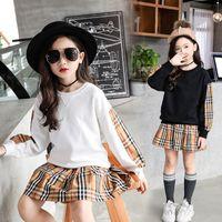 büyük etek katları toptan satış-2019 Yeni Moda Büyük Kızlar Uzun Kollu Kazak Coat Bahar Pamuk Çocuk tişört Giyim Casual Kapüşonlular Etekler Suits Çocuk Giyim Setleri