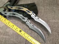 cuchillo de garras de oso al por mayor-Gran tamaño Transformers Bumblebee BEAR cuchillos de cabeza Blue Moon Claw BEAR HEAD Cuchilla plegable de tipo garra de acero inoxidable 1pc