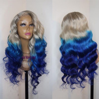 pelucas de pelo azul largo al por mayor-Nueva moda Gris ombre azul brasileña Peluca delantera del cordón lleno Larga onda natural del cuerpo Onda pelo resistente al calor pelucas sintéticas