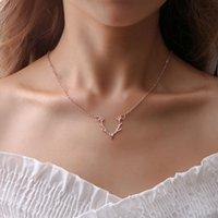 kolye için geyik kolye toptan satış-Geyik Boynuz Kolye Altın Gümüş Gül Altın Elk Boynuzları Kolye Kolye Kadın Kolye Moda Takı