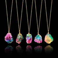 Wholesale mineral necklaces for sale - Group buy Hot Selling Colorful Large Rough Stone Pendant Necklace Wire Wrapped Irregular Natural Minerals Stone Necklace Send In Random