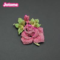 kupfer rosa rose großhandel-Heißer verkauf gold plattiert kupfer metall Luxus rosa strass rose blume geformt anstecknadel brosche Exquisite mode zirkon brosche