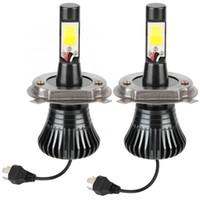 h4 dönüştürme kitleri toptan satış-2 Adet 8000LM Süper Parlak Araba LED Foglight Dönüşüm Kiti Sis Lambası Ampuller H4 6500 K 12 V / 24 V Araç Alüminyum Oto Aksesuarları