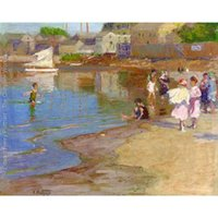 Wholesale hand oil painting beach resale online - Beautiful oil painting beach Landscapes by Edward Henry Potthast Children Playing at the Beach art on canvas Hand painted